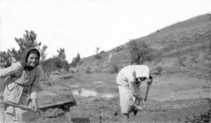 Women digging mud for bricks near Skouriotissa Mine